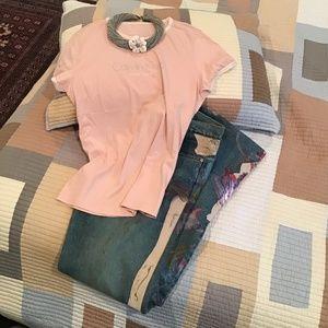 Calvin Klein Powder Pink Beaded T-Shirt Sz L